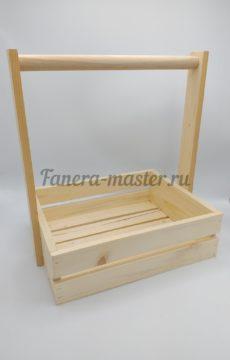 Ящик двухреечный с деревянной ручкой - размер 2